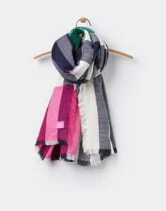 Welcome to our women's Warm Welcome collection. This is where you'll discover our newest (and warmest) padded coats jackets and gilets. Spring Scarves, Oversized Scarf, Floral Scarf, Pink Stripes, Scarf Styles, Womens Scarves, Plaid Scarf, Knitted Scarves, Joules Uk