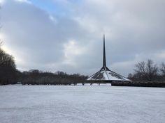 First snow of the season @northchristianchurch is looking fine. #eerosaarinen #columbusin