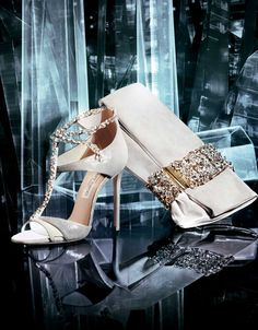 JIMMY CHOO Vices Luxury Shoes & Leather Accessories White Heels and Bag