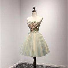 Unique Yellow and Green Sweetheart Homecoming Prom Dresses, Short Part – SposaDesses