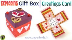 """How to make an """"Exploding Surprise Gift Box / Greetings Card"""" - Paper Cr..."""