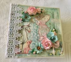 """Handmade Mini Album With Unicorns And Fairies, Size 8.5"""" x 8.5, 5"""" Spine, Stamperia Wonderland, Laces, Pre Made Scrapbook, Memory Album by cherylspapercreation on Etsy Wedding Scrapbook, Baby Scrapbook, Scrapbook Albums, Unicorn And Fairies, Magical Images, Art And Hobby, Memory Album, Paper Doilies, Baby Memories"""