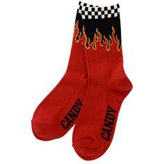 FIRE BLAZES RIB SOCKS ($15) ❤ liked on Polyvore featuring intimates, hosiery, socks and ribbed socks