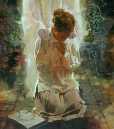 Lady kneeling in prayer with angel comforting her. No Limits by Michael Dudash