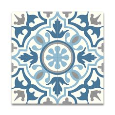 Decorate a kitchen floor, a patio area or bathroom backsplash with these handmade tiles from Morocco. Made from cement and granite, these tiles feature a blue and grey geometric design. Each pack come