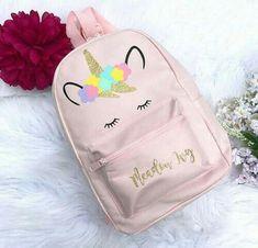 Unicorn Backpack - Personalised Backpack - Girls Backpack - Pink Unicorn Backpack - Girls Unicorn Bag - Backpack with Unicorns - School Bag - 2019 Cute Backpacks, Girl Backpacks, Mini Mochila, Unicorn Fashion, Personalized Backpack, Unicorns And Mermaids, Mode Blog, Cute Unicorn, Cute Bags