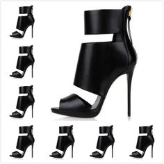 2014 Women's Luxury Brand New Black Genuine Leather Ankle Wrap Summer Boots Sandals,Ladies Design Fashion High Heel Party Pumps