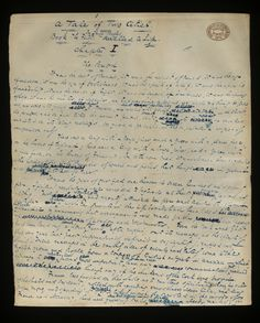 The first page of Dickens' handwritten manuscript for A Tale of Two Cities (1859).
