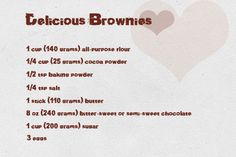 delicious brownies recipe with step by step pictures, ingredients Cookie Bars, Bar Cookies, How To Make Brownies, Brownie Ingredients, Recipe Steps, Brownie Recipes, Free Food, Recipies, Food And Drink