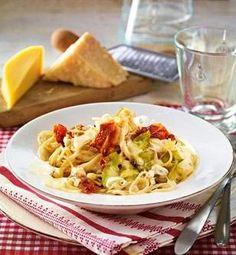 Spaghetti mit Drei-Käse-Soße & Schinken Rezept: Pfeffer,Comté,Parmesan,Gorgonzola,Chicorée,Spaghetti,Zwiebel,Knoblauchzehe,Öl,Mehl,Weißwein,Milch,Parmaschinken
