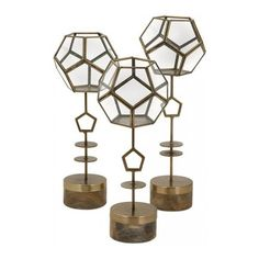 Jada Terrarium Stands - Set of 3 (2,710 MXN) ❤ liked on Polyvore featuring home, home decor, floral decor, bronze home decor, bronze bowl, home decorators collection, succulent plant terrarium and succulent terrarium