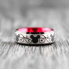 Mickey Mouse Ring 8mm Silver Tungsten Ring Mickey Mouse Design Disney Ring Disney Jewelry