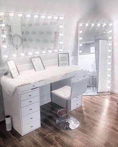 glam station is serious goals 😍⠀ ⠀ P.S, its the last day to save up to 30 on your favorite items with our Mothers Day Sale! Bedroom Decor For Teen Girls, Girl Bedroom Designs, Room Ideas Bedroom, Teen Room Decor, Beauty Room Decor, Makeup Room Decor, Makeup Rooms, Cute Room Decor, Aesthetic Room Decor