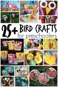 25+ Bird Crafts for Kids: a great collection of bird crafts for preschoolers and toddlers to make using common household items.  Owls, chicks, turkeys, crows, robins...  You'll find bird crafts for all reasons and seasons here.  Perfect for daycare, preschool or kindergarten bird units. - Happy Hooligans