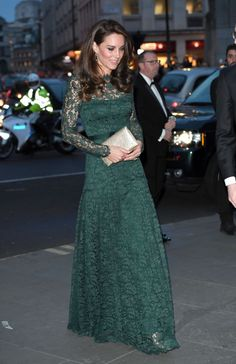 The Duchess of Cambridge wore a gorgeous green lace Temperley London gown at the Portrait Gala 2017 in London,