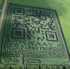 World's Largest QR Code by kraayfamilyfarm: When scanned from the air, the code takes you to the family's website. The code is a  corn maze open to the public! #QR_Code#kraayfamilyfarm
