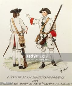 Militaria, France, 18th century. Army of Louis XIV known as the Sun King: riflemen of Royal Louvigny and Lionois Infantry Regiment, 1706. Color engraving by E. Chioppa.