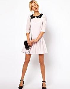 Image 4 ofASOS Shift Dress with Drop Waist And Contrast Collar