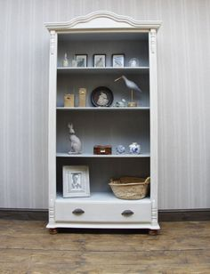 tall painted pine bookcase shabby chic display shelves cream chalk finish