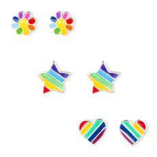 Sterling Silver Rainbow Striped Stud Earrings Set of 3