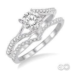 1/2 Ctw Diamond Wedding Set with 3/8 Ctw Round Cut Engagement Ring and 1/6 Ctw Wedding Band in 14K White Gold