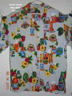 Beer Graphics Tropical Medium Hawaiian Aloha Shirt