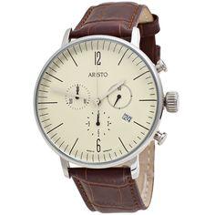 Aristo Herren-Armbanduhr Bauhaus Quarz Chronograph Edelstahl Lederband