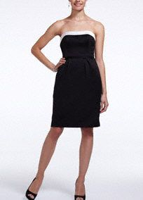 Classic, timeless and chic, your bridesmaids will look stunning in this short andsleek dress!  Strapless bodice with straight neckline features cut out back withbow detail which creates a unique focal point.  Black/Ivory combination is color blockedand available in limitedstores and online.  Fully lined.Side zip. Imported polyester. Dry clean.  To protect your dress, try our Non Woven Garment Bag.