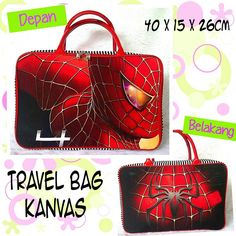 Travel Bag spiderman hitam IDR 100k ● order WA/Line : 081386886644 ● ig @babykiddymommyshop