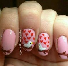 adorable lover bird Valentines nails, except with nude background polish