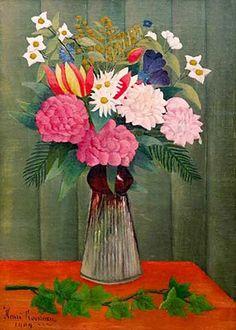 Henri J.F. Rousseau - Bouquet des fleurs à la branche de Lierre - Kunstreproduktionen