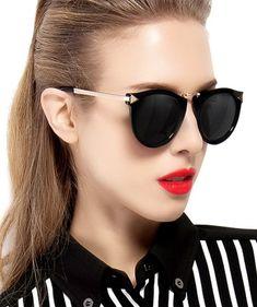 ATTCL Women's Vintage Fashion Round Arrow Style Polarized Sunglasses
