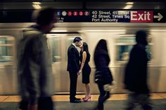 Engagement session in NYC subway station / Photo by Maloman Studios