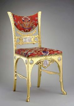Herter Brothers Side Chair Carved And Gilt Wood With Upholstery Fabric C