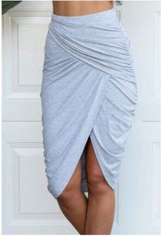 grey jersey knit wrapped skirt