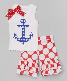 Love this Blue Anchor Tank & Ruffle Shorts - Infant, Toddler & Girls by Beary Basics on #zulily! #zulilyfinds