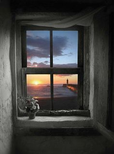 wonderful ocean view, lighthouse and sunset... from inside