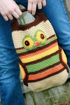 crochet owl purse