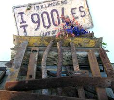 Rusted License Plate Illinois ~ Long Pieces Bars of Metal ~ Industrial Metal Salvage ~ Signage ~ Welding ~ Sheet Metal #8-98 by HighDesertRust on Etsy