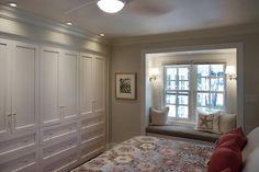 Lejla Eden Interiors - bedrooms - Benjamin Moore - Overcast - Shaker closet, custom built-ins, window seat,  Master bedroom Custom built-in closet