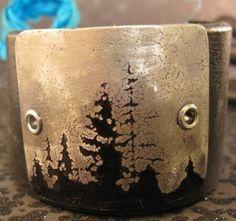Oregon nights etched metal cuff womens by mollyheltsleydesigns, $28.00