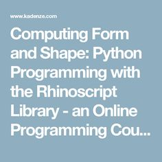 Murachs python programming programming ebooks it ebooks computing form and shape python programming with the rhinoscript library an online programming course fandeluxe Gallery