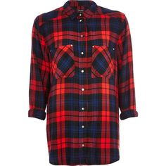 River Island Navy check oversized shirt ($20) ❤ liked on Polyvore featuring tops, shirts, plaid, river island, check, sale, red checkered shirt, navy blue plaid shirt, oversized tops and checked shirt