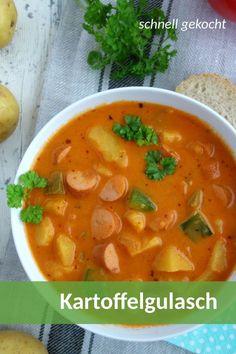 Rezept für Kartoffelgulasch mit Wiener Würstchen und Gemüse.