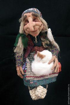 Купить Спящая Баба-Яга - разноцветный, баба яга, баба-яга, котенок, русские сказки