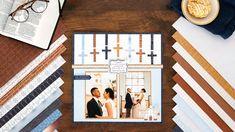 Wedding Ceremony, Reception, Blue Cross, Made In Heaven, Wedding Scrapbook, Creative Memories, Match Making, Scrapbooking Layouts, Paper Design