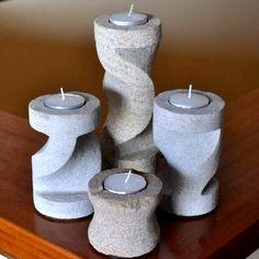 Four Piece Carved Sandstone Candle Holder Set - Dremel Projects Ideas Cement Art, Concrete Art, Concrete Planters, Concrete Crafts, Concrete Projects, Dremel Tool Projects, Dremel Carving, Dremel Accessories, Papercrete