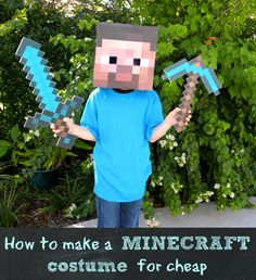 How to make an easy Minecraft Steve costume via kerryannmorgan.com | Make an easy Steve Head