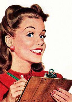An organized housewife 'Always' uses a clipboard. ~ 1948 Greyhound ad. Auf rogerwilkerson.tumblr.com http://www.pinterest.com/margafg/limpio-mi-casita/