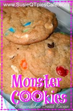 Amish Friendship Bread Monster Cookies by Kitchen Friend Sun Sun QTPies Scraps of Life Amish Bread Recipes, Dutch Recipes, Baking Recipes, Cookie Recipes, Dessert Recipes, Desserts, Sourdough Recipes, Friendship Bread Recipe, Friendship Bread Starter